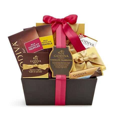 Chocolate Celebration Gift Basket, Spring Ribbon