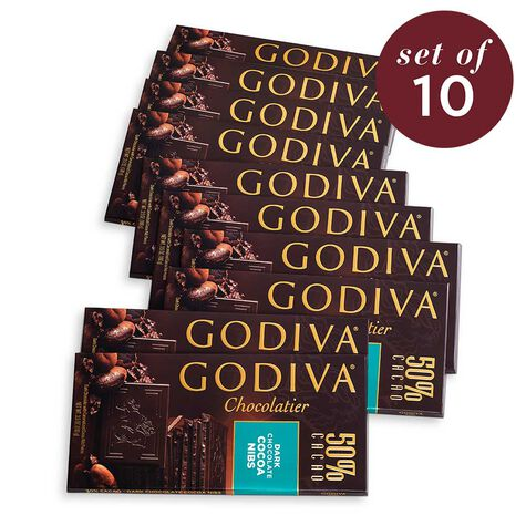 Large 50% Dark Chocolate Cocoa Nibs Bar Set of 10