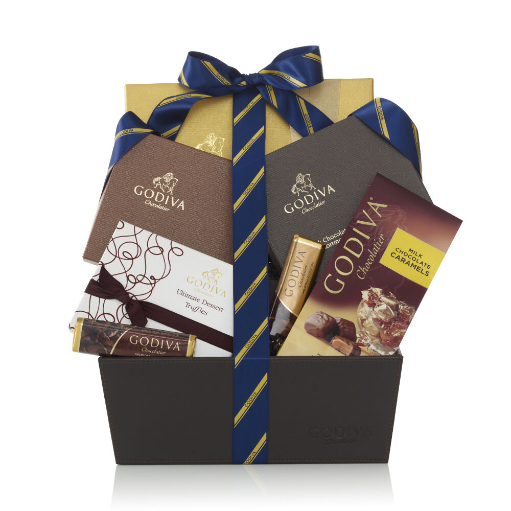 Chocolate Lover's Basket, Striped Tie Ribbon