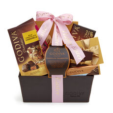 Happy Easter Chocolate Celebration Basket, Pink Ribbon