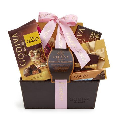 Chocolate Celebration Gift Basket, Personalized Pink Ribbon