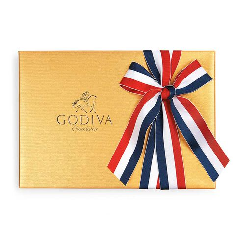 Assorted Chocolate Gold Gift Box, Patriotic Ribbon, 70 pc.