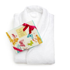 White Turkish Cotton Robe & Assorted Chocolate Spring Gift Box, 16 pc.
