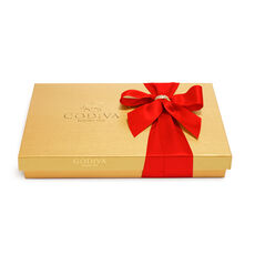 Assorted Chocolate Gold Gift Box, Red Ribbon with Charm, 36 pc.