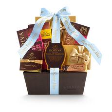 Chocolate Celebration Gift Basket, Personalized Light Blue Ribbon