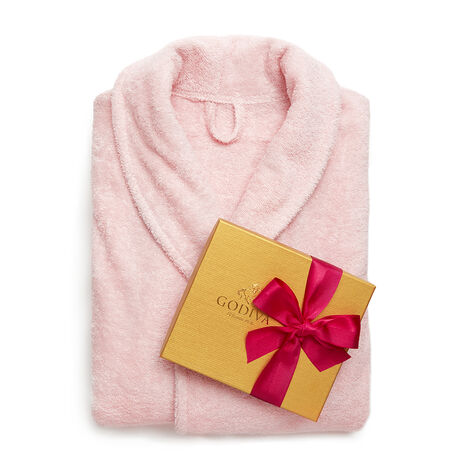 Pink Turkish Cotton Robe & Assorted Chocolate Gold Gift Box, Spring Ribbon, 19 pc.