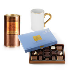 Gold Handle Mug with Milk Chocolate Hot Cocoa & Chocolate Biscuits, 36 pc.