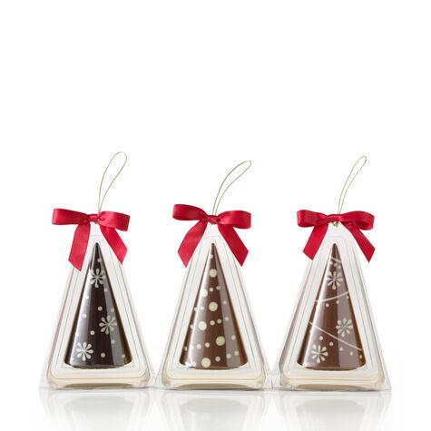 Chocolate Christmas Tree Ornaments, Set of 3