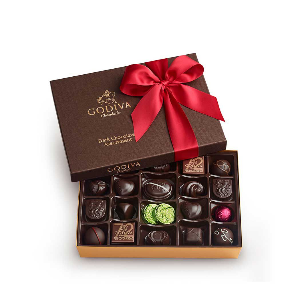 Dark Chocolate Gift Box, Red Ribbon, 27 pc.