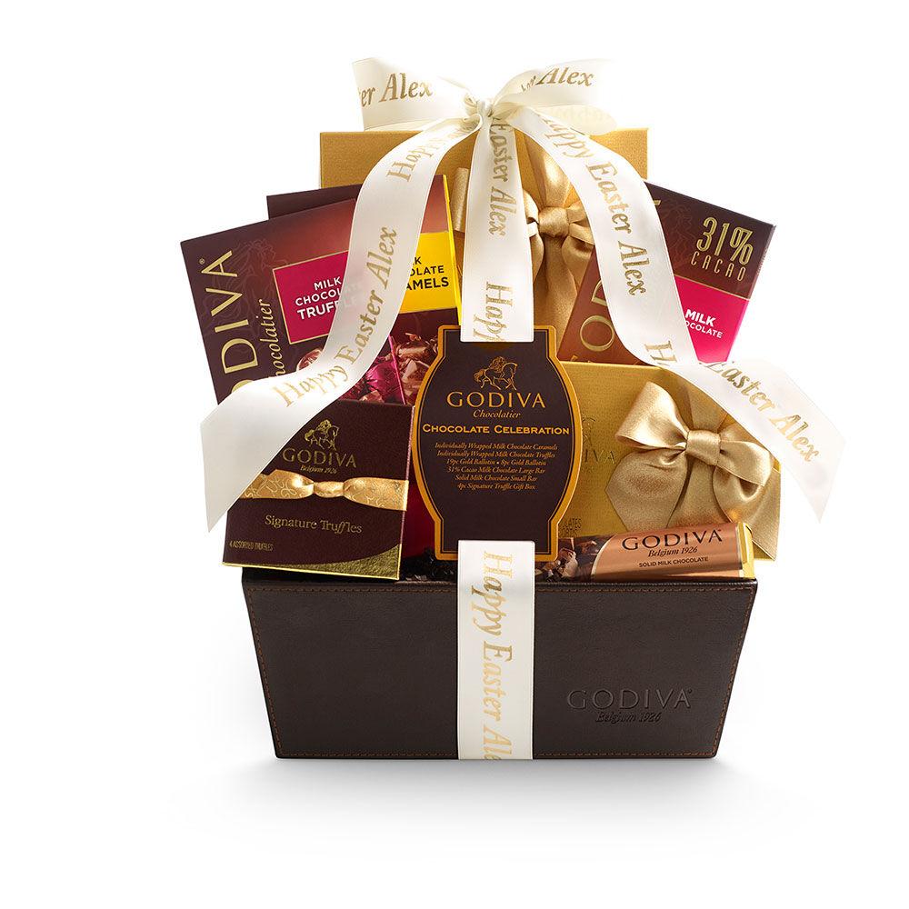 Chocolate Celebration Gift Basket, Personalized Ivory Ribbon