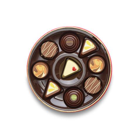 Godiva Throw with Valentine's Day Round Chocolate Gift Box, 9 pc.