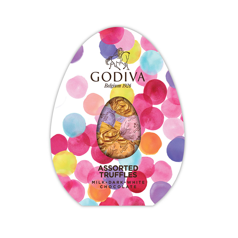 Free easter egg filled with wrapped truffles with 49 purchase easter gwp inside this cheerful egg shaped box negle Choice Image