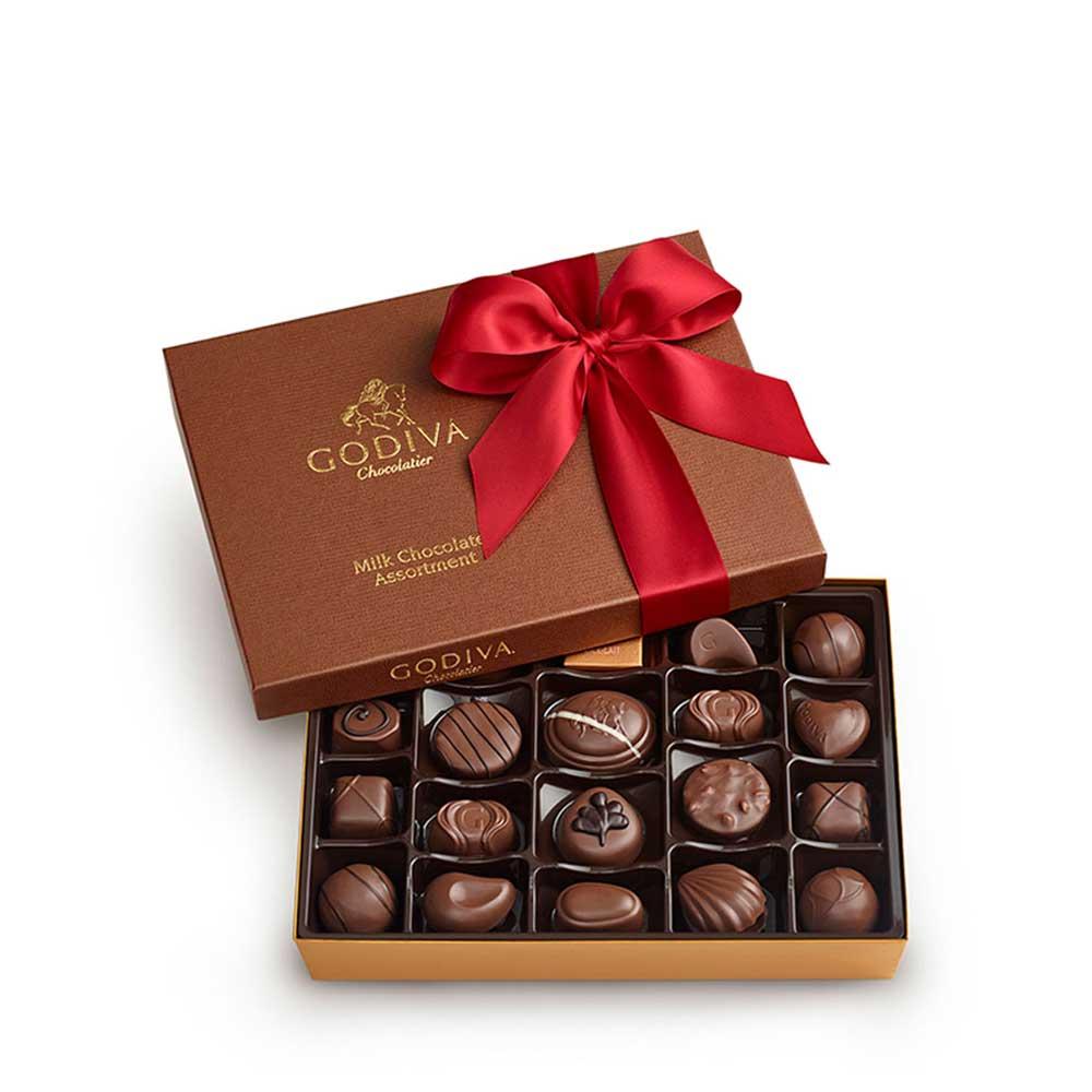 22 pc. Milk Chocolate Valentines Day Gift Box | GODIVA