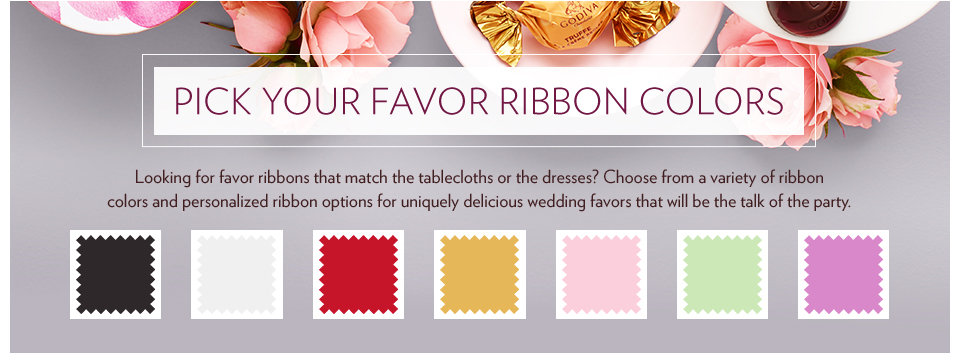 Wedding Favors - Selection of Ribbon colors, including black, white, red, gold, and pink