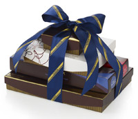 Gift Ideas for Him - Totally Truffles Gift Tower with Blue Striped Ribbon