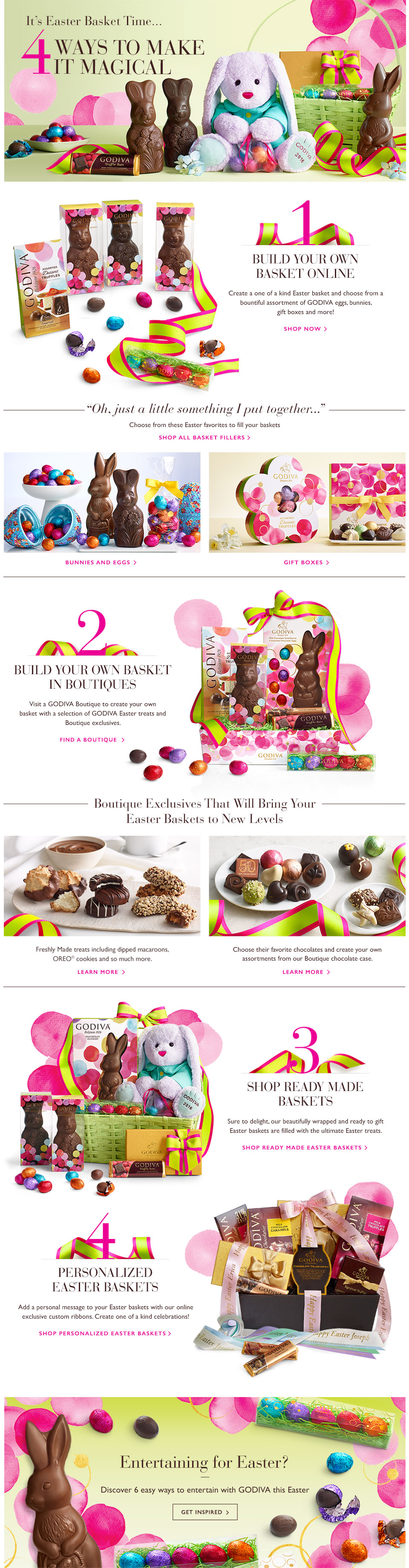 Build Your Own Easter Baskets with GODIVA Chocolate Bunnies and Eggs