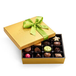Assorted Chocolate Gold Gift Box, Spring Ribbon, 19 pc.