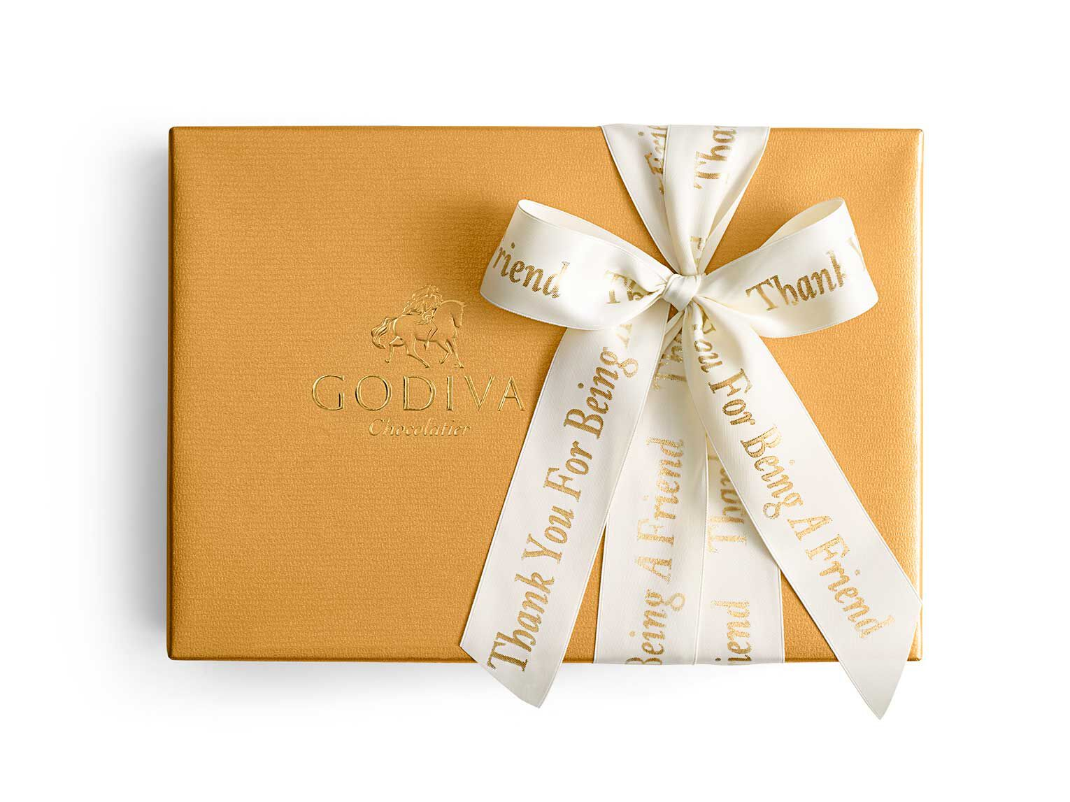 Assorted Chocolate Gold Gift Box, Personalized Ivory Ribbon, 70 pc.