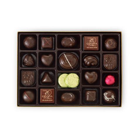 Dark Chocolate Assortment Gift Box, Classic Ribbon, 27 pc.