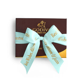 Signature Truffles Gift Box, Personalized Aqua Ribbon, 12 pc.