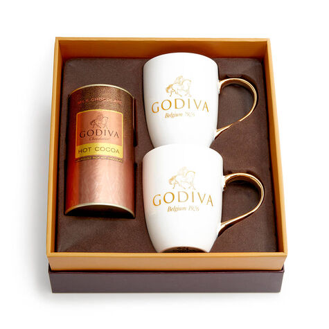 Milk Chocolate Cocoa & Mug Gift Set, Orange & Brown Ribbon