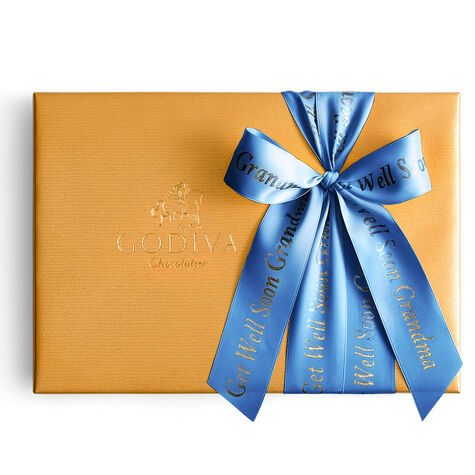 Assorted Chocolate Gold Gift Box, Personalized Royal Blue Ribbon, 36 pc.
