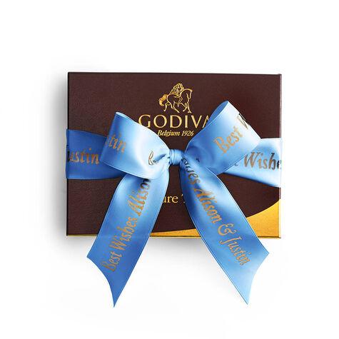 Signature Truffles Gift Box, Personalized Royal Blue Ribbon, 12 pc.