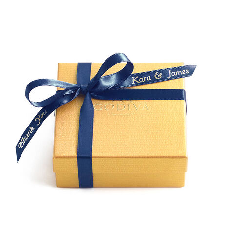 Assorted Chocolate Gold Favor, Personalized Navy Ribbon, 4 pc.