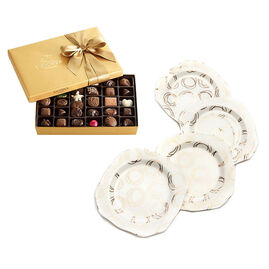 Set of 4 Dessert Plates with 36-pc Assorted Chocolate Gold Gift Box