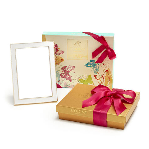 White & Gold Enamel Picture Frame, 4x6 with Assorted Chocolate Spring Gift Box, 16 pc. & Assorted Chocolate Gift Box, Spring Ribbon, 19 pc.