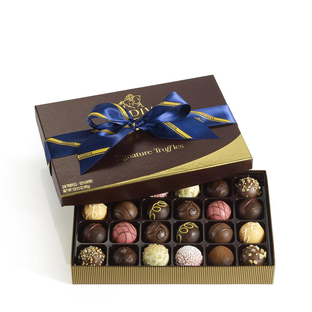 Signature Truffles Gift Box, Striped Tie Ribbon, 24 pc.