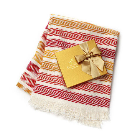 Godiva Cotton Throw Blanket with Assorted Chocolate Gold Gift Box, 19 pc.