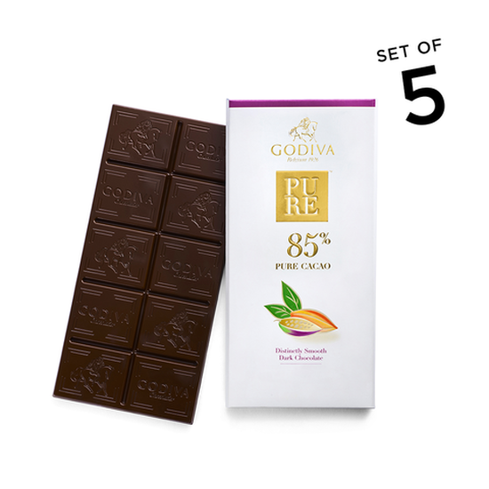 Pure 85% Distinctly Smooth Dark Chocolate Bar, Set of 5 image number null
