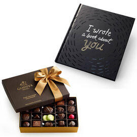 I Wrote A Book About You Book & Dark Chocolate Assortment Gift Box, 27 pcs.