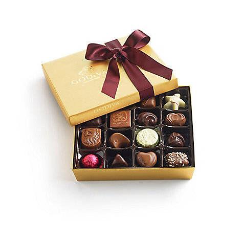 Assorted Chocolate Gold Gift Box, Wine Ribbon, 19 pc.