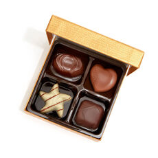 Assorted Chocolate Gold Favor, Gold Ribbon, 4 pc.