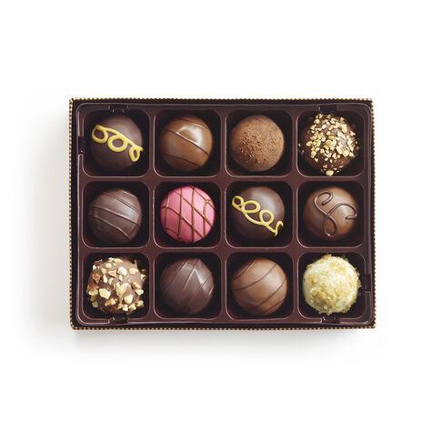Signature Truffles Gift Box, Classic Gold Ribbon, 12 pc.