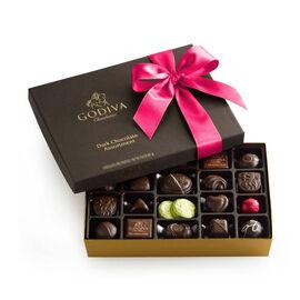 Dark Chocolate Gift Box, Hot Pink Ribbon, 27 pc.