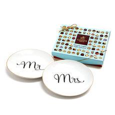 Mr & Mrs Dessert Plates with Patisserie Dessert Chocolate Truffles, 12 pc.