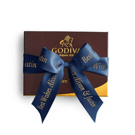 Signature Chocolate Truffle Gift Box, Personalized Navy Ribbon, 12 pc.
