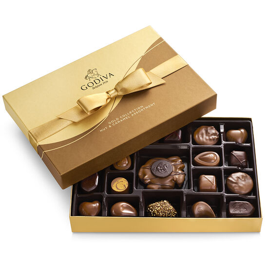 Nut and Caramel Gift Box, Gold Ribbon, 19 pc. image number null