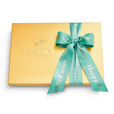 Happy Easter Assorted Chocolate Gold Gift Box, Sage Ribbon, 36 pc.