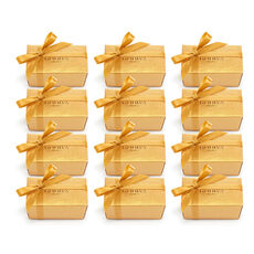 Assorted Chocolate Favor, Gold Ribbon, Set of 12, 2 pc. each