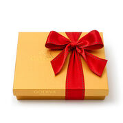 Assorted Chocolate Gold Gift Box, Red Holiday Ribbon, 19 pc.
