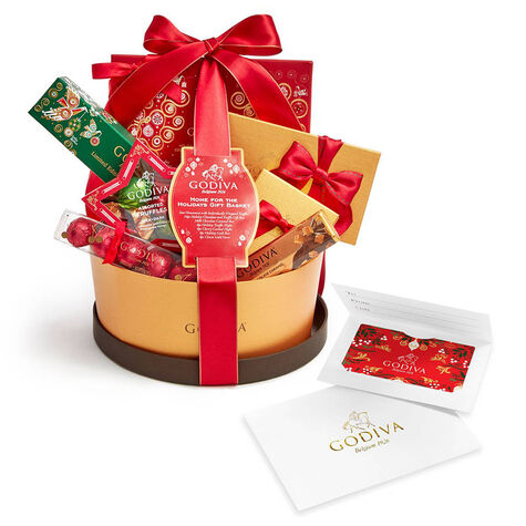 $100 GODIVA Holiday Gift Card & Home for the Holidays Gift Basket