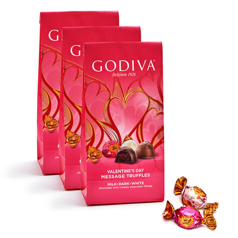 Valentine's Day Assorted Chocolate Truffles, Individually Wrapped, Set of 3