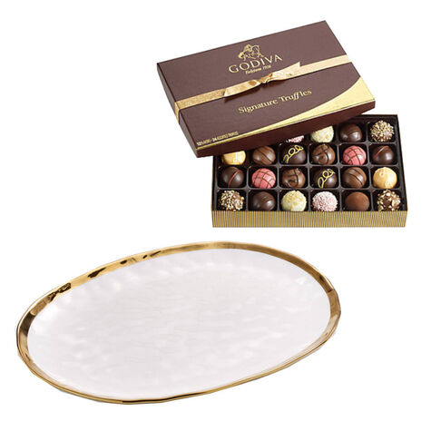 Oval Platter with Signature Truffles Gift Box, 24 pc.