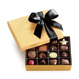 Assorted Chocolate Gold Gift Box, Black Ribbon, 19 pc.