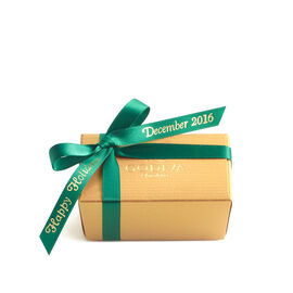 Assorted Chocolate Gold Favor, Personalized Forest Green Ribbon, 2 pc.