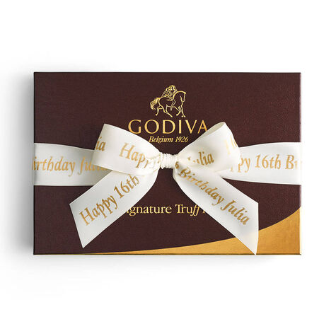 Signature Truffles Gift Box, Personalized Ivory Ribbon, 24 pc.
